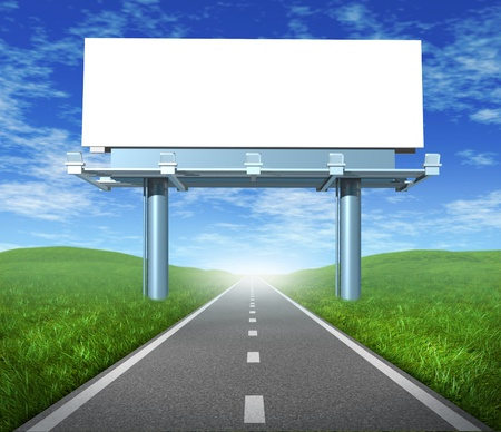 sell: Blank  highway billboard sign in an outdoor display showing a road representing the concept of focused advertising and marketing communications to clients and consumers to promote and sell a brand.