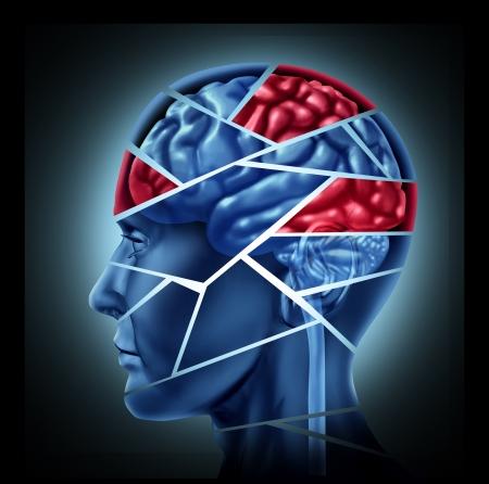 esquizofrenia: Discapacidad mental con lesi�n cerebral y trastorno neurol�gico representado por una cabeza humana y mente roto en pedazos para simbolizar un grave trauma mental m�dica y enfermedad cognitiva sobre fondo blanco.