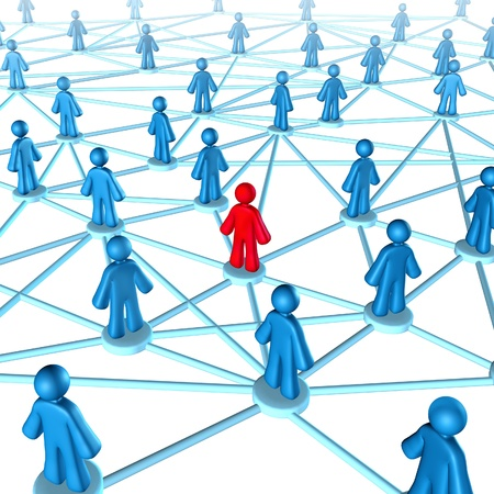 connection: Networking success strategies on the internet with people connected together with one member in red and the other group in blue part of  a social gathering. Stock Photo