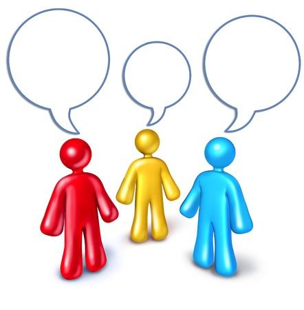 referidos: Redes sociales con referencias representado por distintas personas hablando simbolizada por burbujas de palabra que representa el concepto de medios de comunicación social de compartir la tecnología de la información para la construcción de un negocio de éxito. Foto de archivo