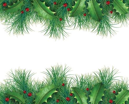 evergreen branch: Ramas de pino con el acebo y las bayas rojas de un borde decorativo de navidad, vacaciones, �rbol de hoja perenne que representan ornamento festivo guirnalda invierno sobre un fondo blanco.