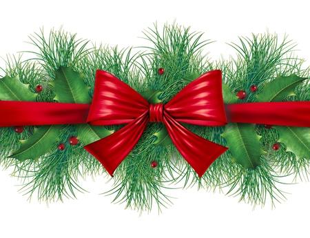 Rode zijde boog met grenen grens sier vakantie decoratie voor kerst feestelijke viering winter op een witte achtergrond.