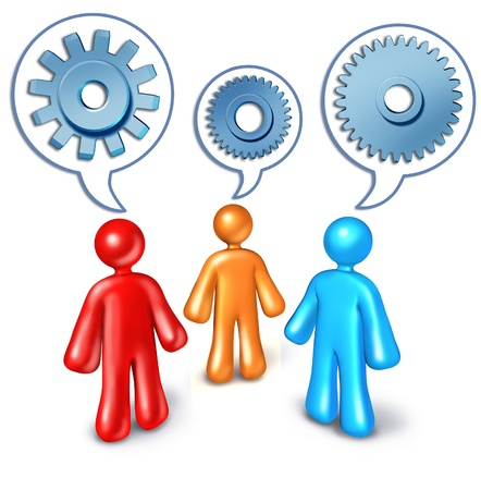 nformation: Business referrals and contact building symbol represented by three character people talking to one another with talk bubbles with cogs and gears inside.