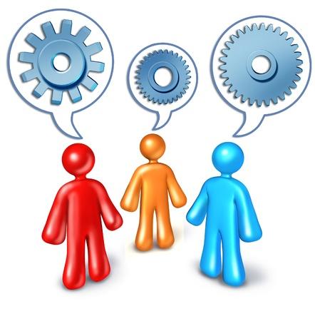 referidos: Referencias de negocios y contacto edificio s�mbolo representado por tres personas de car�cter hablando entre s� hablan de burbujas con ruedas dentadas y engranajes dentro.