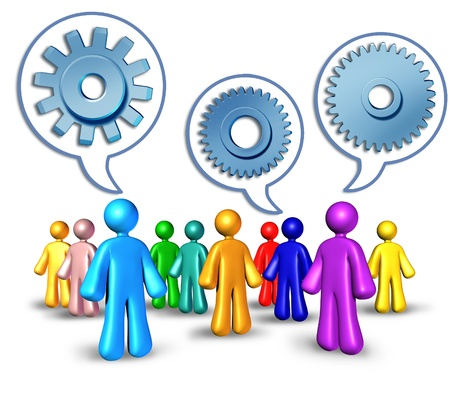 nformation: Social networking with referrals represented by different peopletalking symbolized by word bubbles with cogs and gears representing the social media concept of sharing information technology for building abusiness for success. Stock Photo
