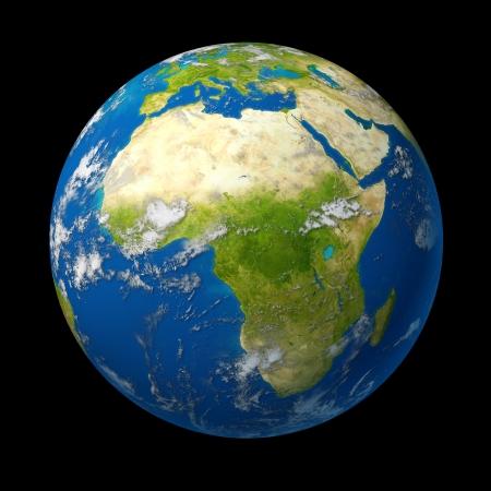 mapa de africa: �frica en el mundo con el Oriente Medio y �frica del sur y del norte de �frica countreis como Libia y Egipto, as� como Chad N�ger Zimbabwe y Angola rodeado por el oc�ano azul que ver tambi�n parte del sur de Europa con Turqu�a y Siria Foto de archivo