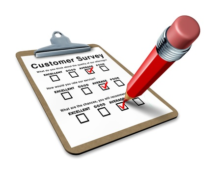 Average customer survey on a clipboard representing ordinary service questionnaire with blank feedback form for quality control