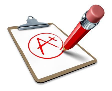 numero uno: Miglior voto simbolo rappresentato da un blocco per appunti con una matita rossa la scrittura di un segno pi� per mostrare quello prestazioni di eccellenza e il numero di un vincitore di controllo di qualit�.