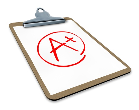 excellent: Best score and great mark symbol represented by a clipboard with an a plus sign.