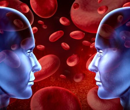 hemorragias: Donaciones de sangre con otro grupo de sangre y tipos de c�lulas rojas de la sangre que fluye a trav�s de las venas y sistema circulatorio humano para donantes y receptores de transfusiones para cirug�a de urgencia en una cl�nica del hospital. Foto de archivo