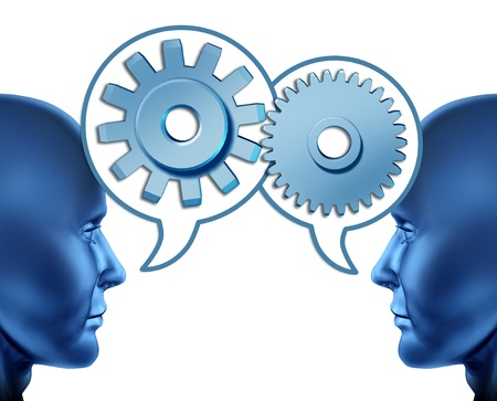 referrals: Business partnership and teamwork with two human heads sharing referrals to increase business opportunities represented by two faces talking with word bubbles with gears and cogs as symbols of networking.
