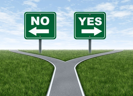 business dilemma: Yes or no decision symbol represented by a forked road with a road sign saying yes and another saying no with arrows for turning in the direction that is chosen after facing the difficult dilemma. Stock Photo