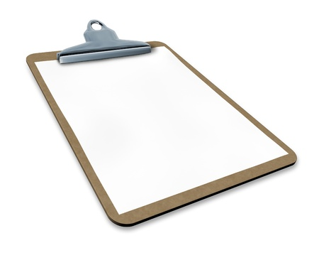 clipboard with blank paper isolated with angled perspective representing a medical or business chart. Stock fotó