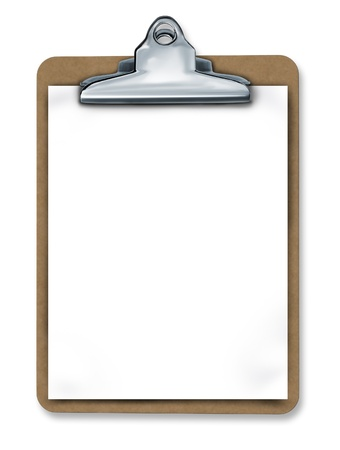 Clipboard with blank paper isolated representing a medical or business chart and taking important notes. Stock Photo