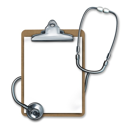 Medical notes symbol represented by a stethoscope and a clipboard as medical equipment used by nurses and doctors to take down notes about a patients  diagnosis and health status. Imagens