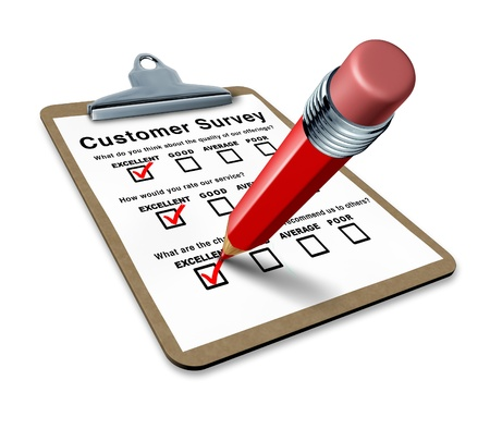 excellent customer survey on a clipboard representing a very good service questionnaire for feedback and quality control input to better serve the clients. 스톡 콘텐츠