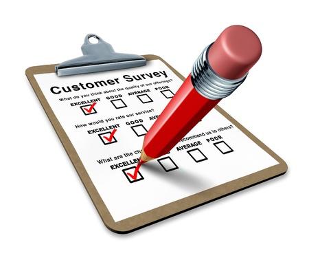 Ausgezeichnete Kundenbefragung auf einem Klemmbrett repräsentieren einen sehr guten Service Fragebogen für Rückfragen und Qualität Steuereingang um besser auf die Kunden. Standard-Bild - 10843744