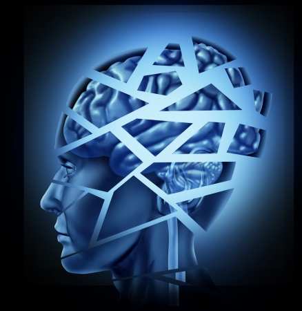 brain injury: Damaged human brain injury and neurological disorder represented by a man Stock Photo