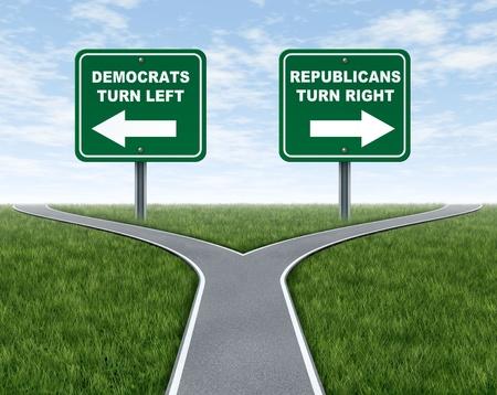 Democraten en Republikeinen de verkiezingen keuzes vertegenwoordigd door een weg die splitst in twee kampen met de Democraat leunend naar links en de Republikeinse partij gaan rechts. Stockfoto