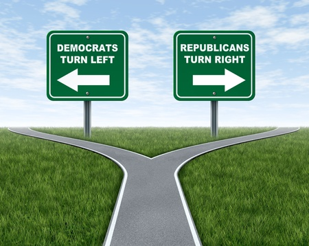 road sign: Democrats and Republicans election choices represented by a road that splits into two camps with the Democrat leaning to the left and the Republican party going right. Stock Photo