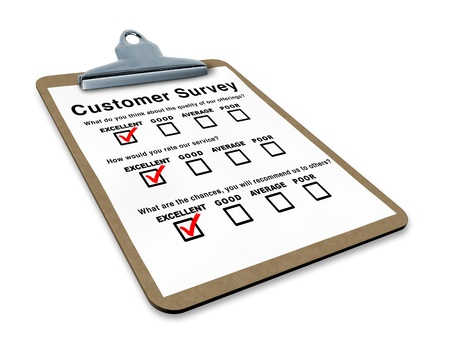 quality questions: Excellent customer survey on a clipboard representing the best service questionnaire with blank feedback form for quality control Stock Photo