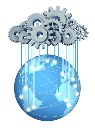 Global cloud network computing network symbol with a cloud and rain in the form of gears and cogs representing the expansion of the global cloud computing technology on a world and international internet partners Stockfoto