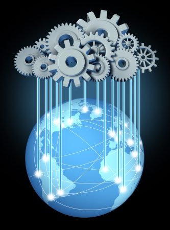 gigabytes: Global cloud networking computing network symbol with a cloud and rain in the form of gears and cogs representing the expansion of the global cloud computing technology on a world and international internet partners
