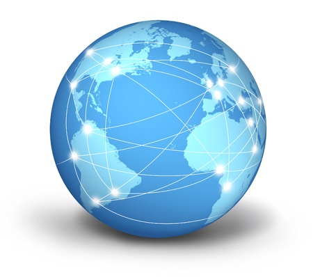 Internet connections and network around the globe represented by a global international sphere resting on the floor showing the communications amongst cities and continents around the world photo