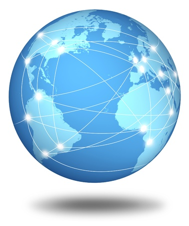 connected: Internet connections and network around the globe represented by a global international sphere showing the communications amongst cities and continents around the world.
