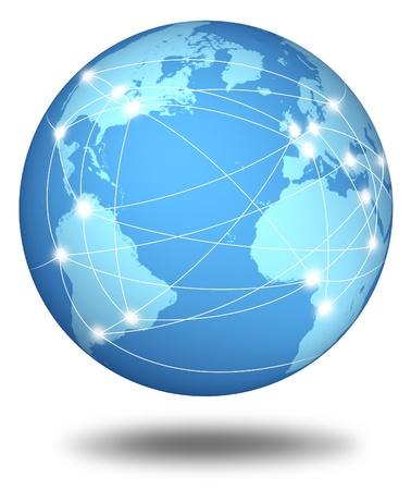 Cable network: Las conexiones a Internet y la red del mundo representados por una esfera internacional global mostrando las comunicaciones entre las ciudades y continentes del mundo.