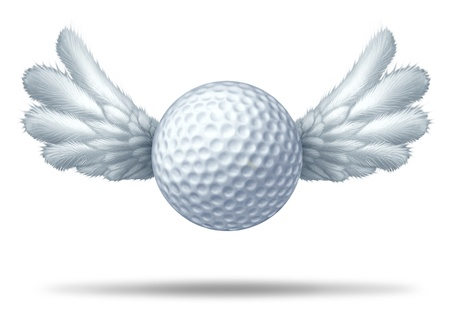 score under: Golf pro and golfing professional  symbol represented by a white golf ball with wings flying upwards showing the concept of golfing sports competion winning and golf course  game activity.
