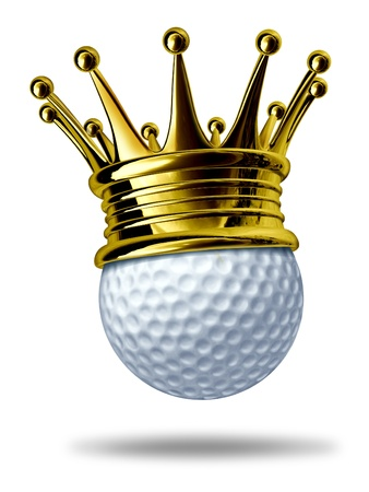 Golf tournament champion symbol represented by a white golf ball wearing a gold crown showing the concept of golfing sports competion winning and golf course  game activity. photo