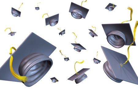 academic dress: Graduation hats thrown in the air as a celebration with a traditional hat toss for the graduate university and college students featuring a black velvet mortar-board and gold lace. Stock Photo