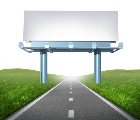 Blank highway billboard sign in an outdoor display showing a road representing the concept of focused advertising and marketing communications to clients and consumers to promote and sell a brand on white background.