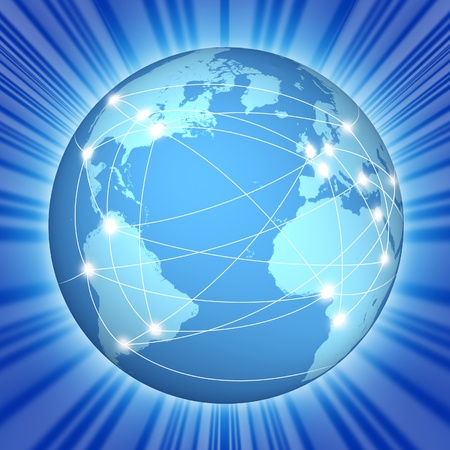 international internet: Internet global communications network symbol represented by a blue globe with radiating light.