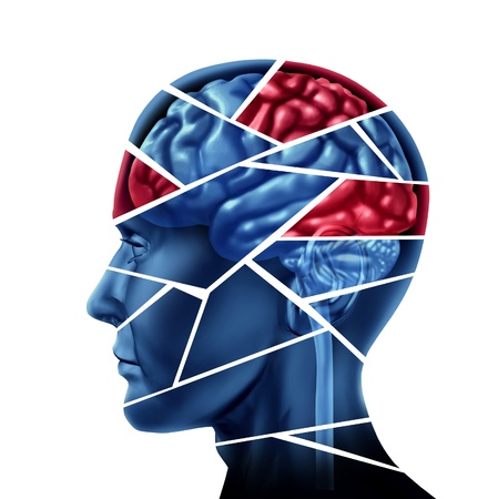 brain injury: Mental disorder and neurological injuryrepresented by a human head and mind broken in pieces to symbolize a severe medical mental trauma and cognitive illness on white background.