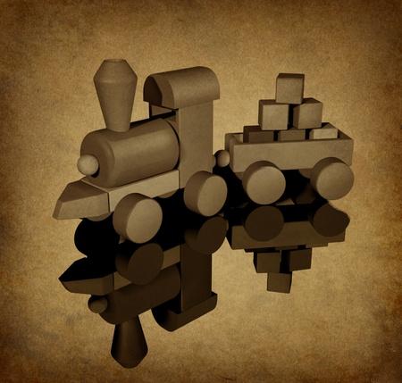 transporte escolar: Antiguo juguete vintage entrenar con textura grunge que muestra un conjunto de madera de obra con formas geométricas básicas sobre un fondo antiguo de textura de papel de parchement que representa a la juventud y el tiempo pasado en la historia como un niño. Foto de archivo