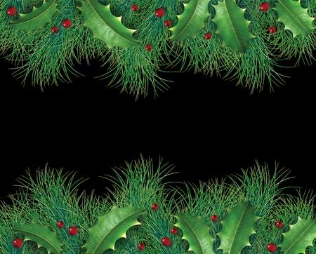 검정색 배경에 축제 겨울 화환 장식을 나타내는 크리스마스 휴가 장식 상록 테두리 홀리와 빨간 열매와 소나무 분기.