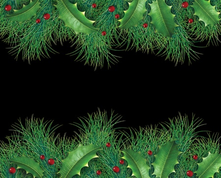 Pine branches with holly and red berries for a christmas holiday decorative evergreen border representing festive winter garland ornament on a black background.