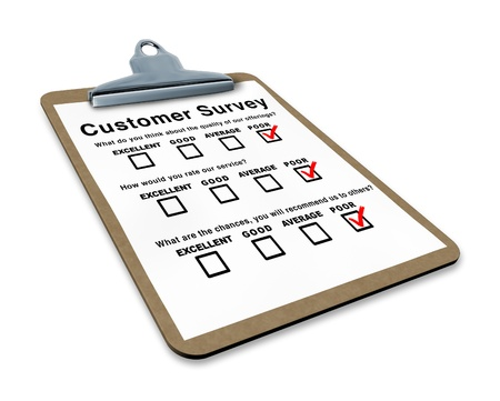 quality questions: Poor customer survey on a clipboard representing terrible service questionnaire with blank feedback form for quality control