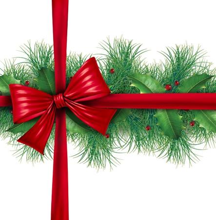 slingers: Rode zijde geschenk boeg met pijnbomen grens sier vakantie decoratie voor kerst feestelijk winter viering op een witte achtergrond die een decoratief seizoensgebonden geschenkverpakking. Stockfoto