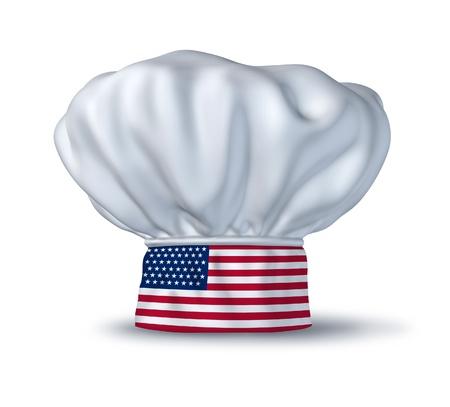 アメリカ料理のシンボルは白で隔離されるイタリアの旗とシェフの帽子によって表されます。白で隔離されるアメリカ合衆国の国旗とシェフの帽子