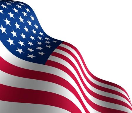 drapeaux am�ricain: Drapeau am�ricain dans la perspective diagonale avec un mouvement courbant la forme des �toiles et de rayures repr�sentant patriotisme et de fiert�. Banque d'images