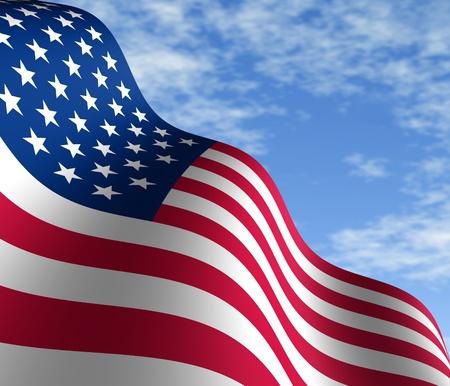 drapeaux am�ricain: Drapeau am�ricain sur un ciel bleu en perspective en diagonale avec un mouvement courbant la forme des �toiles et de rayures repr�sentant patriotisme et de fiert�.