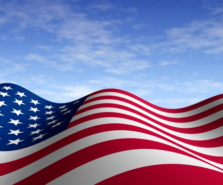 American flag with blue sky in horizontal perspective with motion curving the shape of the stars and stripes representing patriotism freedom and pride.
