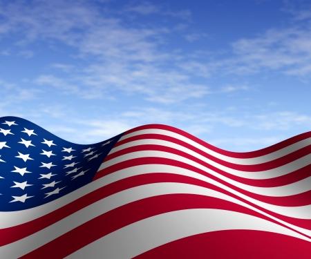 drapeaux am�ricain: Drapeau am�ricain avec un ciel bleu dans une perspective horizontale avec mouvement courbe la forme des �toiles et bandes repr�sentant la fiert� et la libert� de patriotisme.