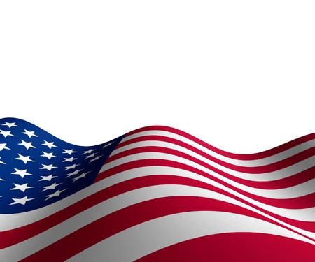 flag: American flag in horizontal perspective with motion curving the shape of the stars and stripes representing patriotism and pride. Stock Photo