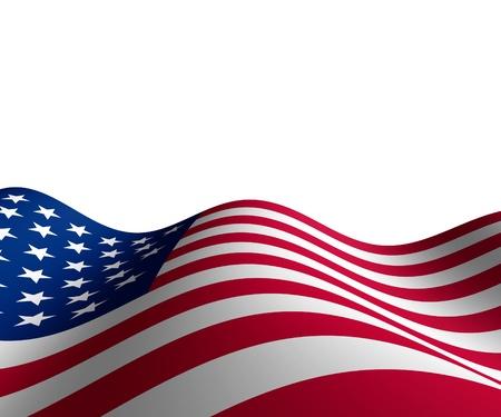 banderas america: Bandera estadounidense en perspectiva horizontal con movimiento de una curva de la forma de las estrellas y rayas que representan el patriotismo y el orgullo. Foto de archivo