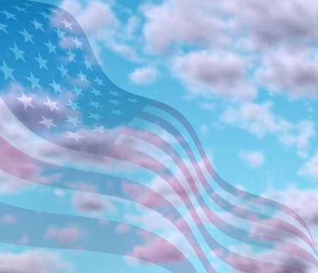 Sky with American flag in with motion curving the shape of the stars and stripes representing freedom and democracy. Stock Photo - 10892112
