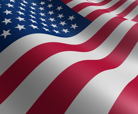 American flag in motion curving the shape of the stars and stripes representing patriotism and pride. Stock Photo - 10892115